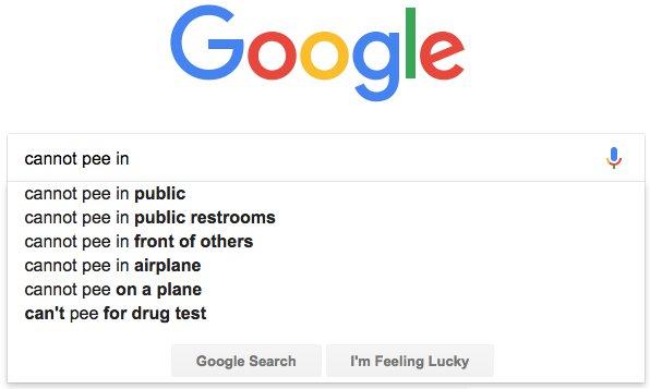 """Google-Suche nach """"kann nicht pinkeln"""""""